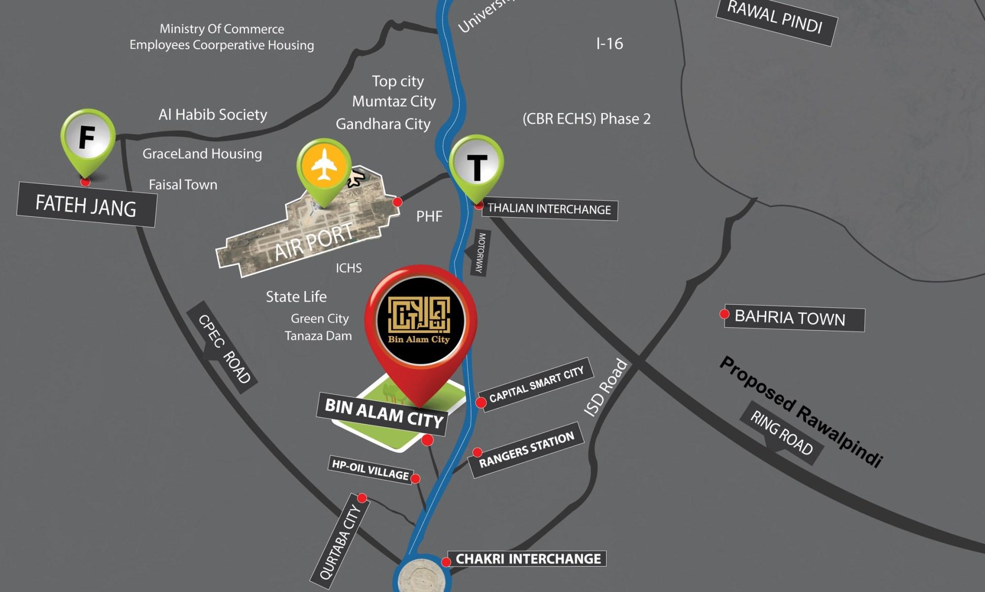 Bin Alam City Islamabad - location map