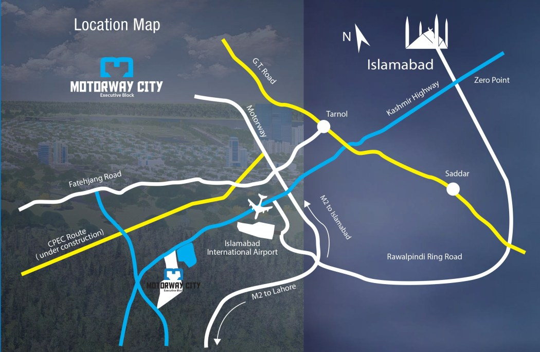 Motorway City Islamabad- Location Map