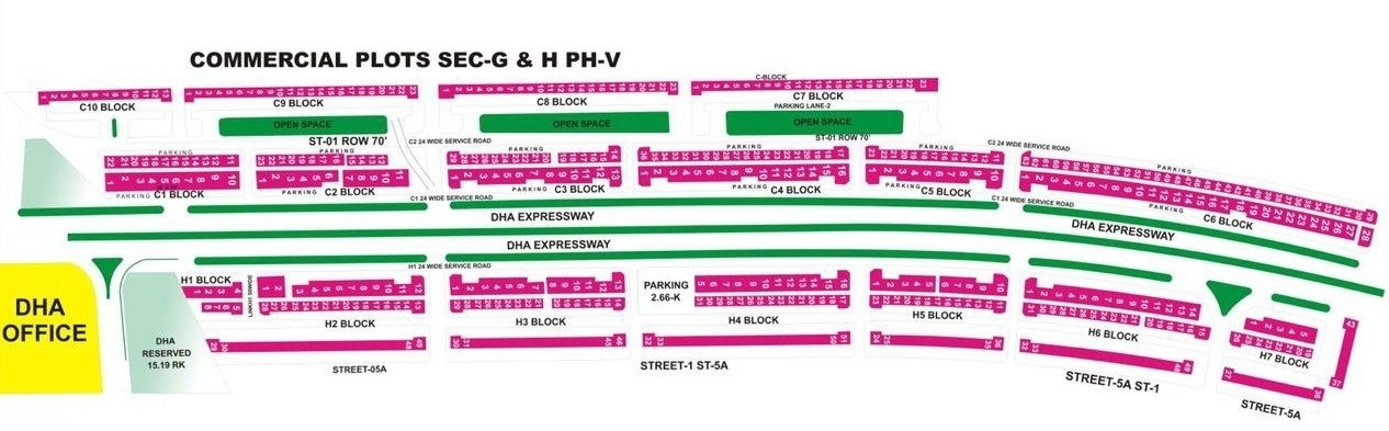 DHA Phase-5 Commercial Plots Map
