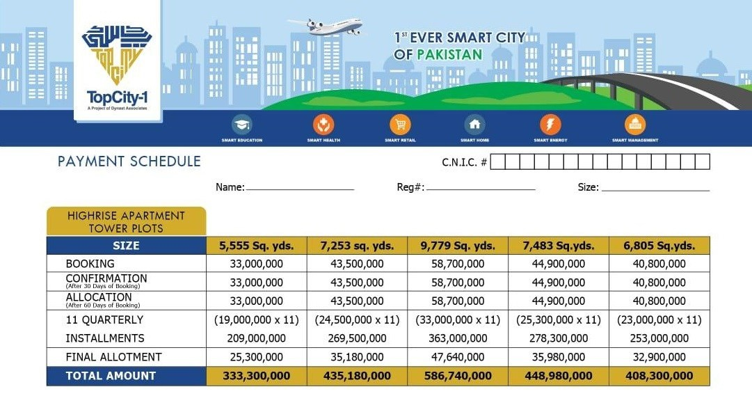 Top City-1 High-Rise Tower Plots Payment Plan