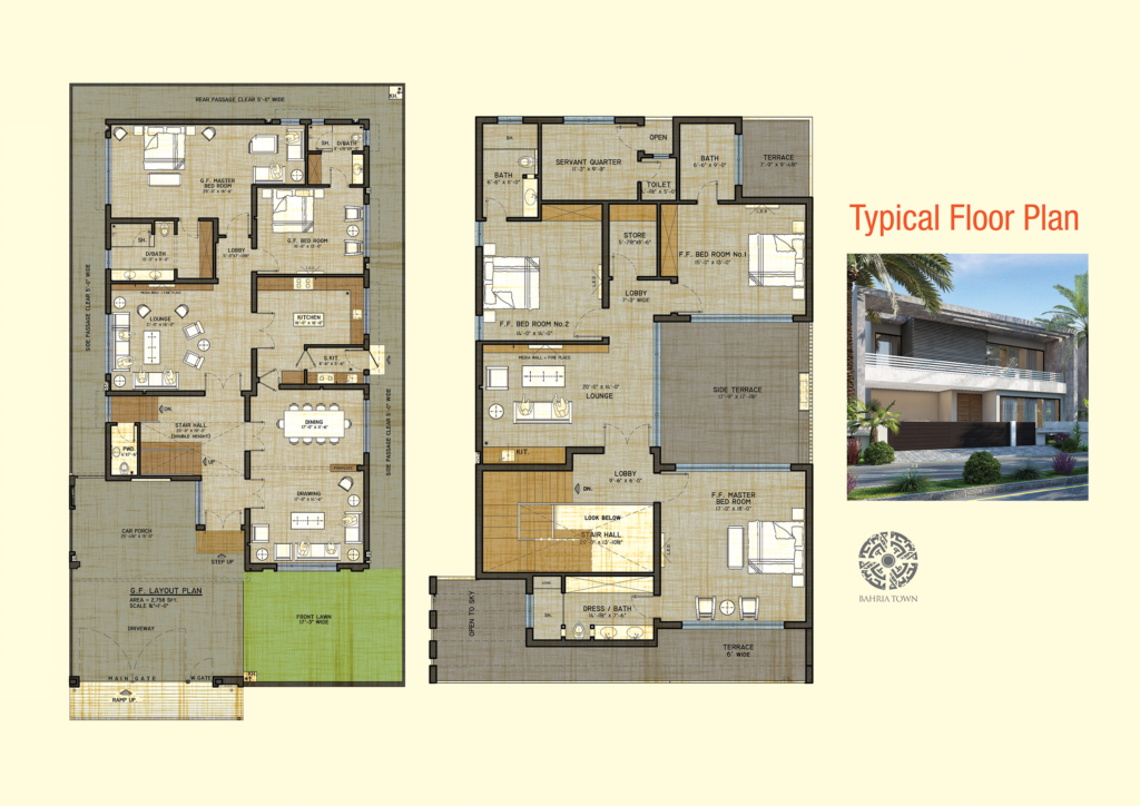 Bahria Paradise 500 Square Yard Floor Plan