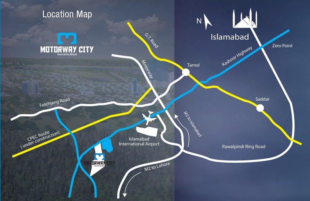 Motorway City Islamabad- Location Map